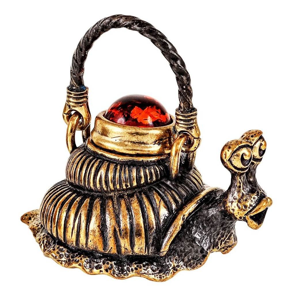 Бронзова статуетка з бурштином Чайник Равлик