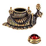 Бронзова статуетка з бурштином Чайник Равлик, фото 2