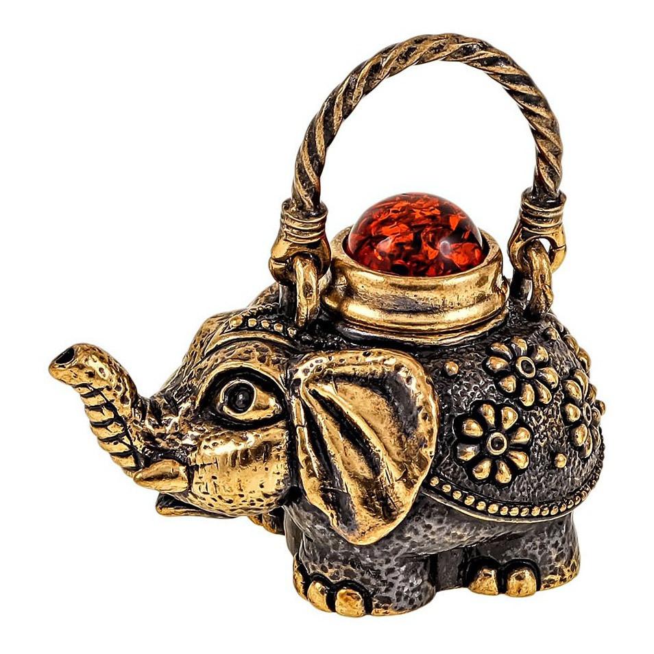 Бронзова фігурка з бурштином сувенірна Чайник Слон