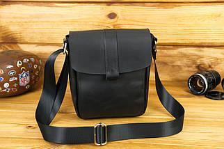 Шкіряна чоловіча сумка Вільям, натуральна шкіра італійський Краст колір Чорний, фото 2