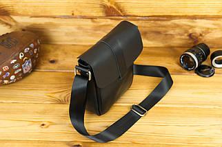 Шкіряна чоловіча сумка Вільям, натуральна шкіра італійський Краст колір Чорний, фото 3
