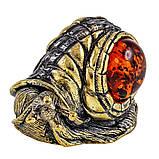Маленькая бронзовая фигурка с янтарем Улитка Моника, фото 2