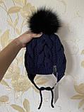 Дитячий набір шапка на зав'язках з натуральним бубоном і снуд для хлопчика і дівчинки ручної роботи., фото 2
