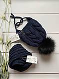 Дитячий набір шапка на зав'язках з натуральним бубоном і снуд для хлопчика і дівчинки ручної роботи., фото 4