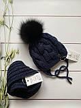 Дитячий набір шапка на зав'язках з натуральним бубоном і снуд для хлопчика і дівчинки ручної роботи., фото 5