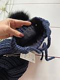 Дитячий набір шапка на зав'язках з натуральним бубоном і снуд для хлопчика і дівчинки ручної роботи., фото 6
