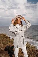 Сорочка Девика жіноча з шанелі тепла об'ємного крою в клітку з поясом Rdi786
