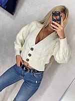 Женская вязанная кофточка на пуговицах, фото 1