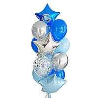 """Связка воздушных шаров с синей звездой и надписью """"Happy Birthday"""""""