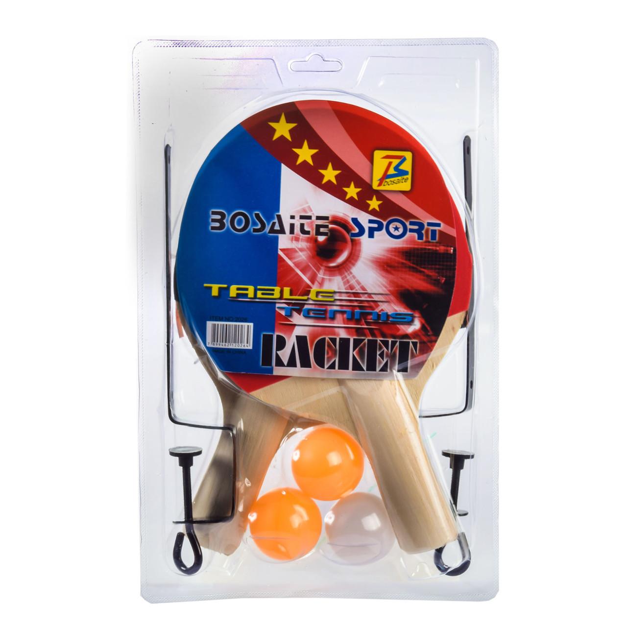 Теннис настольный  E33336 (50 шт) 2 ракетки, 3 мячика в слюде с сеткой, в слюде 28*18 см