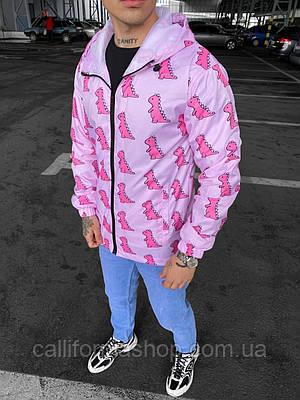 Ветровка мужская розовая яркая молодежная  с капюшоном