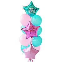 """Связка воздушных шаров с розово-изумрудными звездами и надписью """"Happy Birthday"""""""