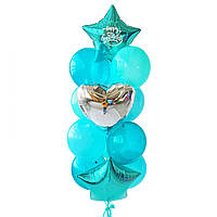 """Связка воздушных шаров с изумрудными звездами и надписью """"Happy Birthday"""""""