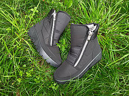 Жіночі зимові чоботи дутики Чорні короткі на замку