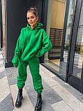Жіночий теплий спортивний костюм на флісі трехнитка бежевий чорний зелений лаванда малиновий 42-44 46-48, фото 2