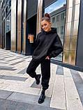 Жіночий теплий спортивний костюм на флісі трехнитка бежевий чорний зелений лаванда малиновий 42-44 46-48, фото 5