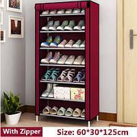 Складной Шкаф тканевый для обуви на 7 полок, Органайзеры и кофры для хранения вещей и обуви AS5578 Бордо