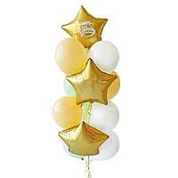 """Связка воздушных шаров с сатин золотыми звездами и надписью """"Happy Birthday"""""""