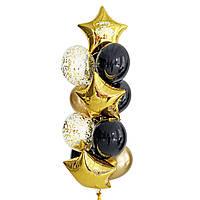 """Связка воздушных шаров с золотыми звездами с надписью """"Happy Birthday"""""""