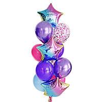 """Связка воздушных шаров с радужными звездами с надписью """"Happy Birthday"""""""