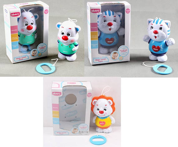Погремушка-заводная 91078E|79E|80E (48шт|2) медведь, кот, лев, звук, в коробке 14*8*19,5см, фото 2