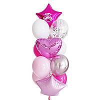 """Связка воздушных шаров со звездой цвета фуксия и надписью """"Happy Birthday"""""""