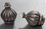 Карниз для штор металевий ТАДЖА з кристалом однорядний 16мм 1.6 м Сатин нікель, фото 2