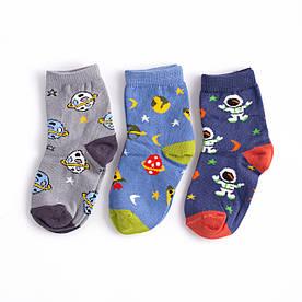 """Набір дитячих шкарпеток з 3 пар з принтом """"Космос"""" 3-4, 4-5 років"""