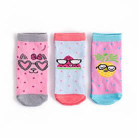 """Набір дитячих шкарпеток з 3 пар з принтом """"Фрукти в окулярах"""" 1-2, 3-4, 4-5 років"""