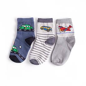 """Набір дитячих шкарпеток з 3 пар з принтом """"Літак, Автобус, Машина"""" 3-4, 4-5 років"""