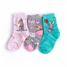 """Набір дитячих шкарпеток з 3 пар з принтом """"Зайчик, Единоріг, Котик"""" 3-4, 4-5 років"""