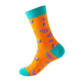 """Шкарпетки з принтом """"Фрукти Арбуз"""" помаранчеві"""