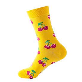 """Шкарпетки з принтом """"Фрукти Вишня"""" жовті"""