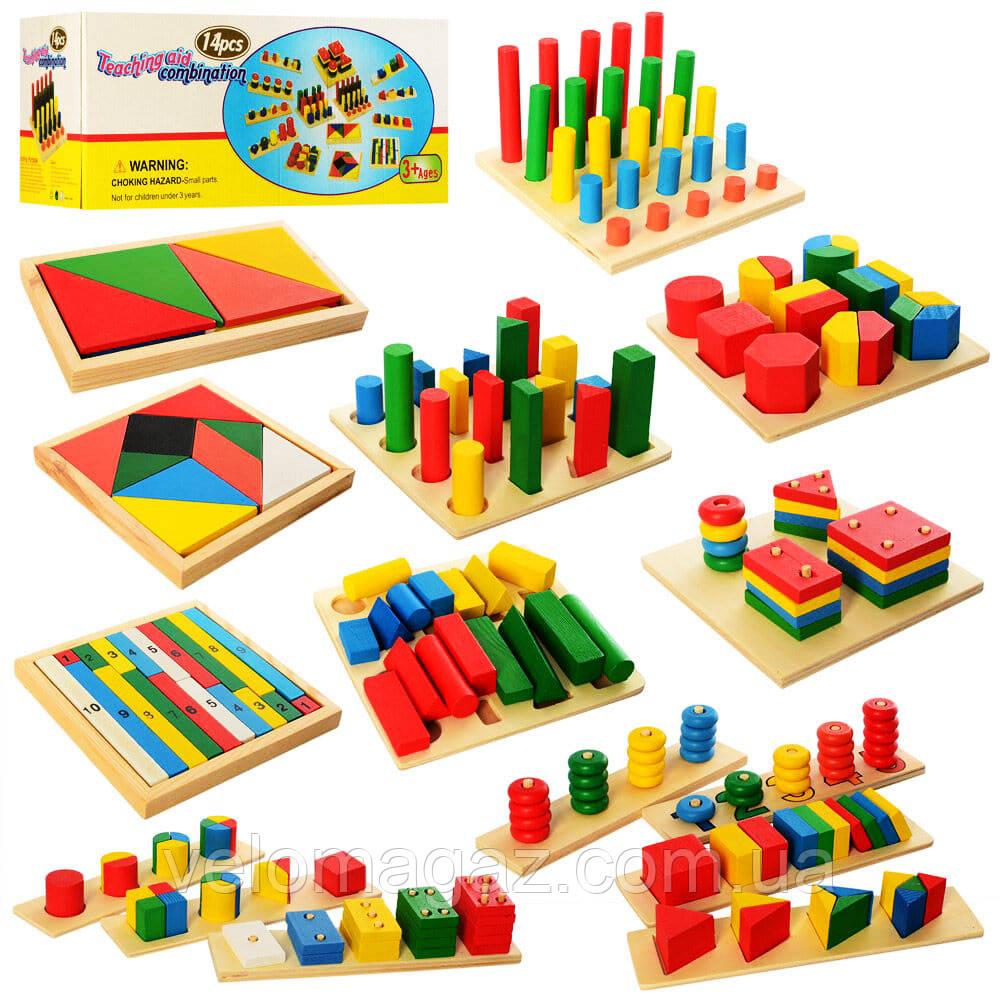"""Дитячий дерев'яний конструктор """"Геометрія 2404"""", 14 ігор - піраміди, геометричні фігури та ін."""