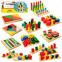 """Дитячий дерев'яний конструктор """"Геометрія 2404"""", 14 ігор - піраміди, геометричні фігури та ін., фото 1"""