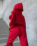 Жіночий зимовий спортивний костюм на флісі трехнитка беж чорний червоний лавандовий 42-44 46-48 (50) стрілками, фото 5