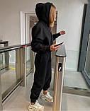 Жіночий зимовий спортивний костюм на флісі трехнитка беж чорний червоний лавандовий 42-44 46-48 (50) стрілками, фото 4