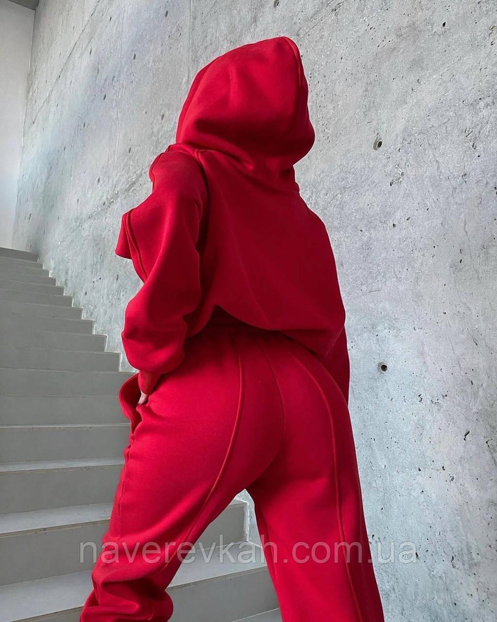 Жіночий зимовий спортивний костюм на флісі трехнитка беж чорний червоний лавандовий 42-44 46-48 (50) стрілками