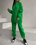 Зимовий спортивний костюм на флісі з трехнити жіночий беж мокко блакитний зелений лаванда малина м'ята 42-44 46-48, фото 3