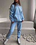 Зимовий спортивний костюм на флісі з трехнити жіночий беж мокко блакитний зелений лаванда малина м'ята 42-44 46-48, фото 7