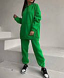 Зимний спортивный костюм на флисе с трехнити женский беж мокко голубой зеленый лаванда малина мята 42-44 46-48, фото 5