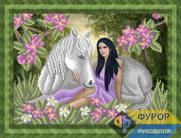 Схема для вишивки бісером картини Дівчина з конем на галявині (ЛБч3-129)