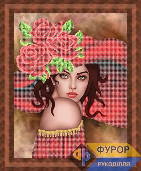 Схема для вышивки бисером картины Девушка в шляпе с розами (ЛБч3-133)