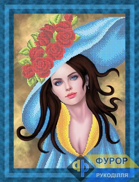 Схема для вишивки бісером картини Дівчина в капелюсі з трояндами (ЛБч3-135)
