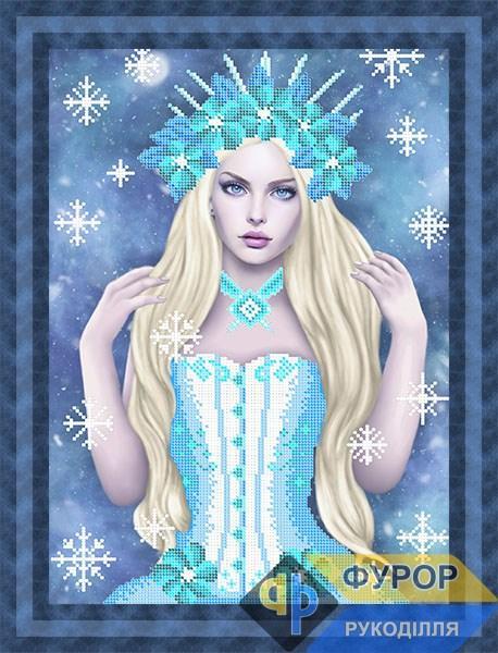 Схема для вышивки бисером картины Девушка зима (ЛБч3-140)