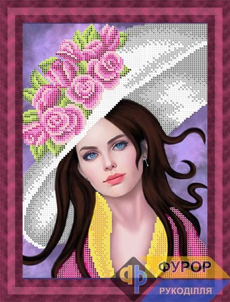 Схема для вышивки бисером картины Девушка в шляпе с розами (ЛБч4-069)