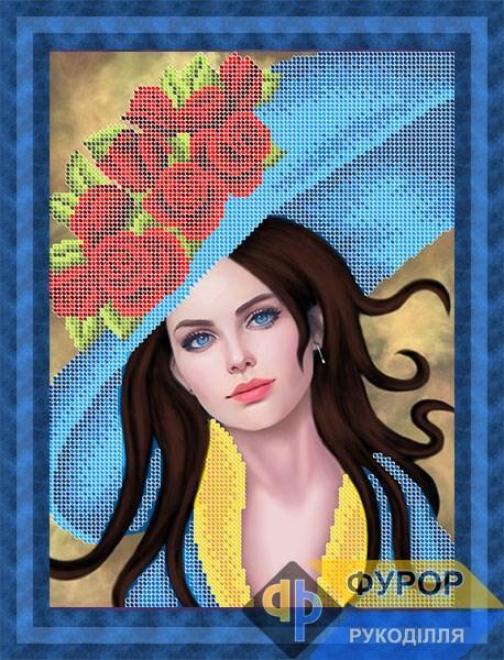 Схема для вышивки бисером картины Девушка в шляпе с розами (ЛБч4-070)