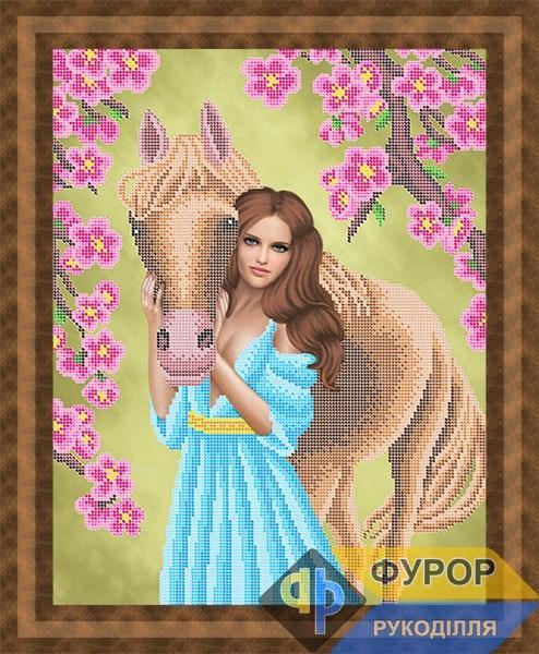Схема для вишивки бісером картини Дівчина з конем (ЛБч3-127)