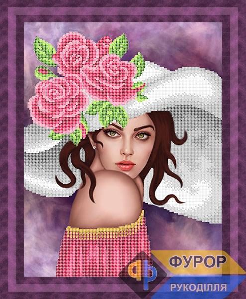 Схема для вышивки бисером картины Девушка в шляпе с розами (ЛБч3-132)
