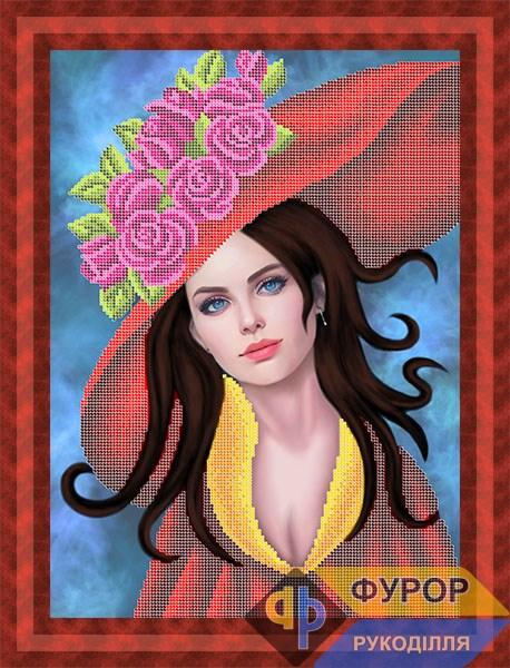 Схема для вишивки бісером картини Дівчина в капелюсі з трояндами (ЛБч3-136)